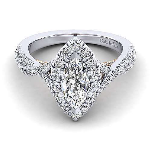 Gabriel - Leanna 14k White And Rose Gold Marquise  Halo Engagement Ring