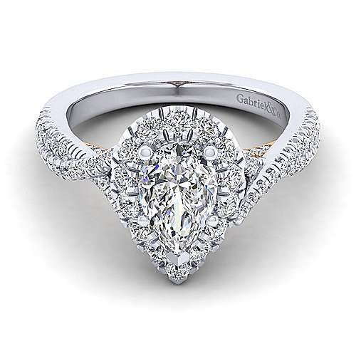 Gabriel - Leanna 14k White And Rose Gold Pear Shape Halo Engagement Ring