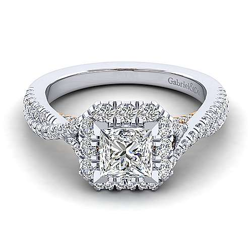 Gabriel - Leanna 14k White And Rose Gold Princess Cut Halo Engagement Ring