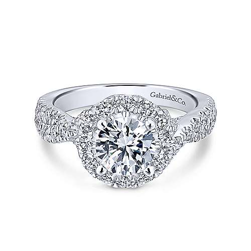 Gabriel - Leanna 14k White Gold Round Halo Engagement Ring