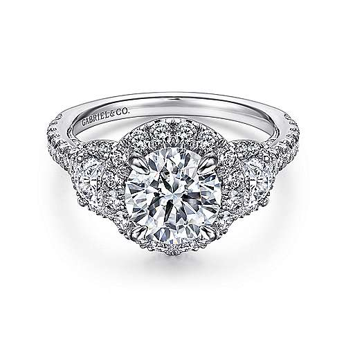 Gabriel - Leda 14k White Gold Round 3 Stones Halo Engagement Ring