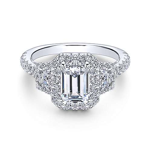 Gabriel - Leda 18k White Gold Emerald Cut 3 Stones Halo Engagement Ring
