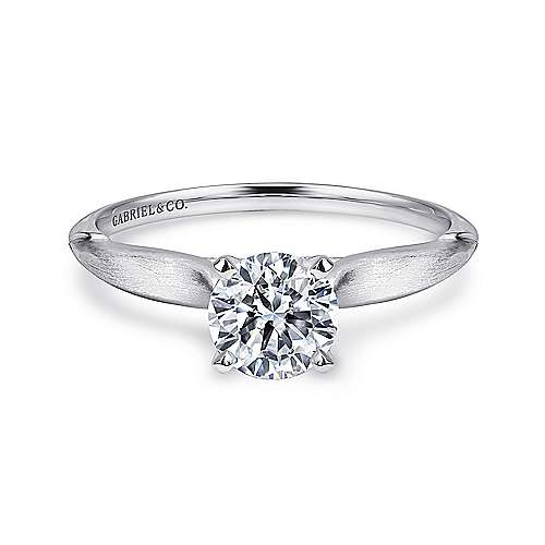 Lee 14k White Gold Round Solitaire Engagement Ring angle 1