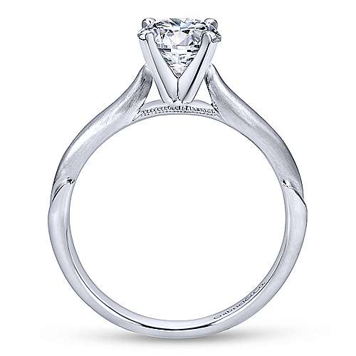 Lee 14k White Gold Round Solitaire Engagement Ring angle 2