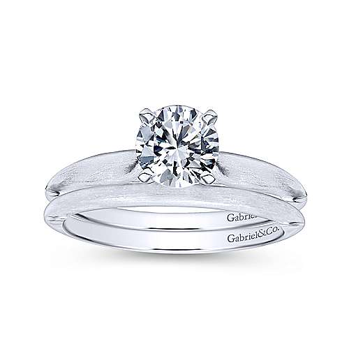 Lee 14k White Gold Round Solitaire Engagement Ring angle 4