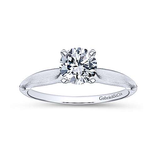 Lee 14k White Gold Round Solitaire Engagement Ring angle 5
