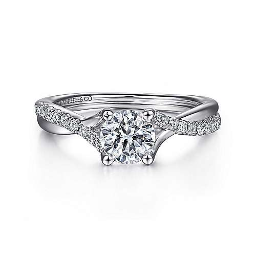 Gabriel - Leigh 14k White Gold Round Twisted Engagement Ring