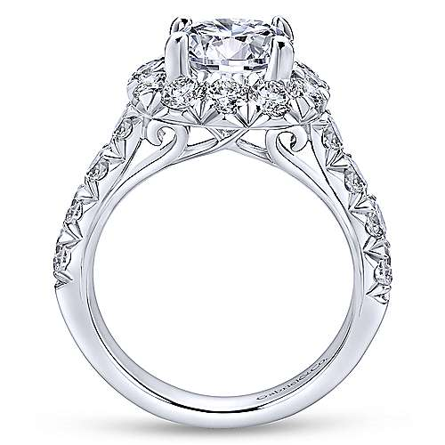 Leila 14k White Gold Round Halo Engagement Ring angle 2