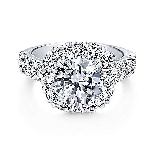 Gabriel - Leila 18k White Gold Round Halo Engagement Ring