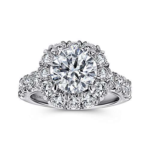 Leila 18k White Gold Round Halo Engagement Ring angle 5
