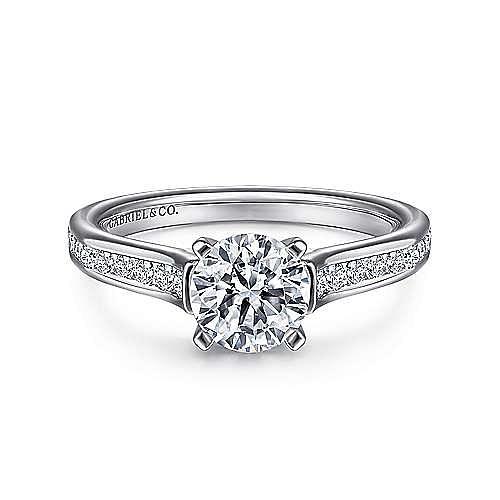 Gabriel - Leland 14k White Gold Round Straight Engagement Ring