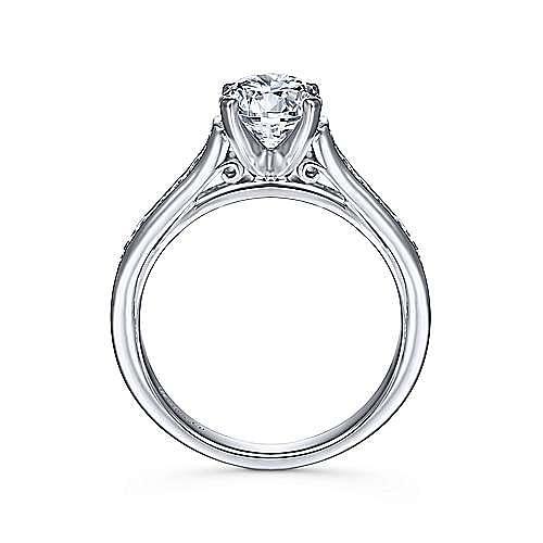 Leland 14k White Gold Round Straight Engagement Ring angle 2