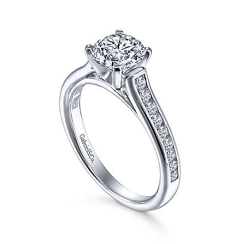 Leland 14k White Gold Round Straight Engagement Ring angle 3