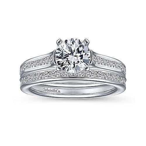 Leland 14k White Gold Round Straight Engagement Ring angle 4