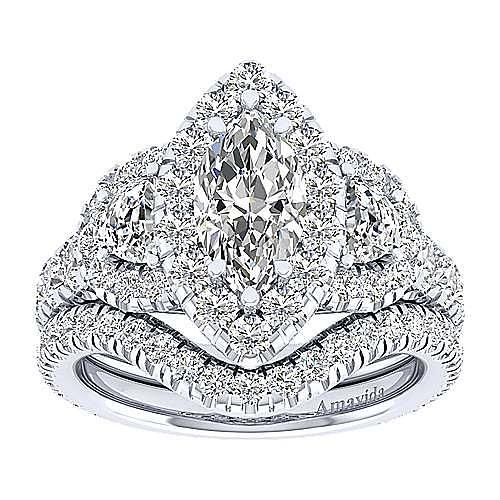 Lena 18k White Gold Marquise  3 Stones Halo Engagement Ring angle 4