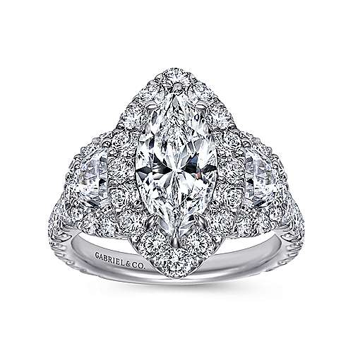 Lena 18k White Gold Marquise  3 Stones Halo Engagement Ring angle 5