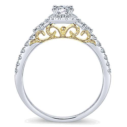 Lennon 14k Yellow And White Gold Round Halo Engagement Ring angle 2
