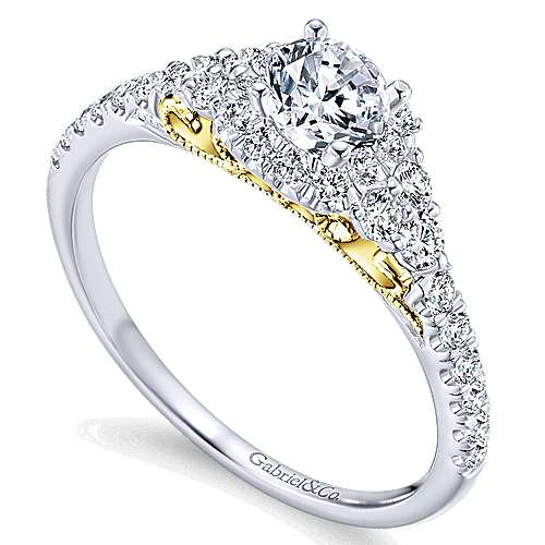 Lennon 14k Yellow And White Gold Round Halo Engagement Ring angle 3