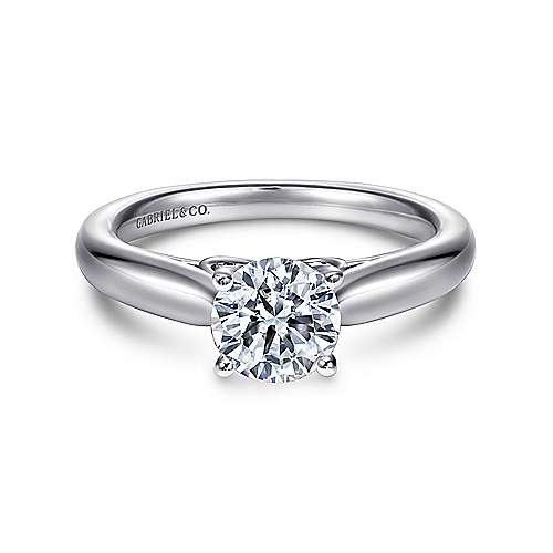Lennox 18k White Gold Round Solitaire Engagement Ring angle 1