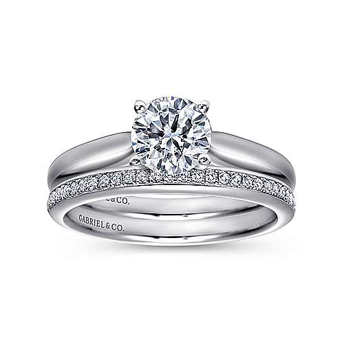 Lennox 18k White Gold Round Solitaire Engagement Ring angle 4