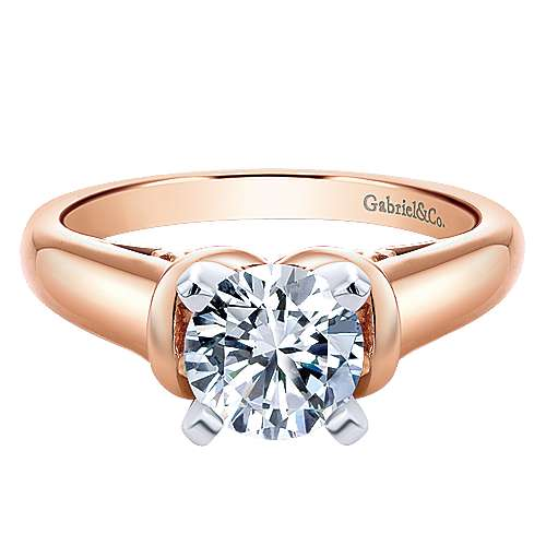 Lenora 14k Rose Gold Round Solitaire Engagement Ring angle 1