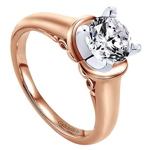 Lenora 14k Rose Gold Round Solitaire Engagement Ring angle 3