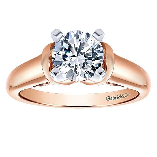 Lenora 14k Rose Gold Round Solitaire Engagement Ring angle 5