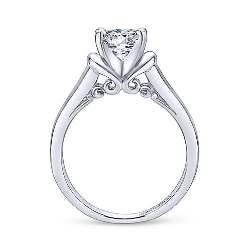 Lenora 14k White Gold Round Solitaire Engagement Ring angle 2