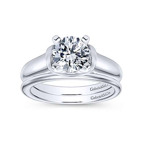 Lenora 14k White Gold Round Solitaire Engagement Ring angle 4