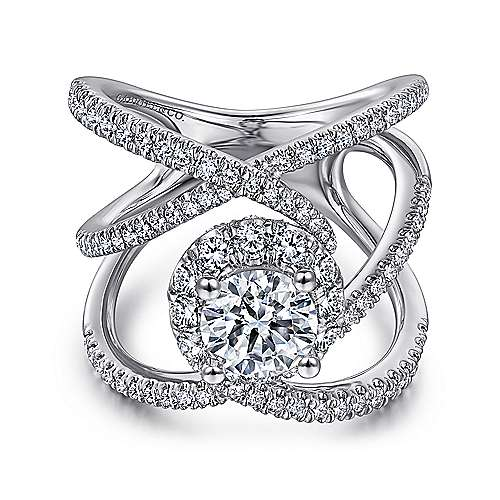 Gabriel - Leone 14k White Gold Round Halo Engagement Ring