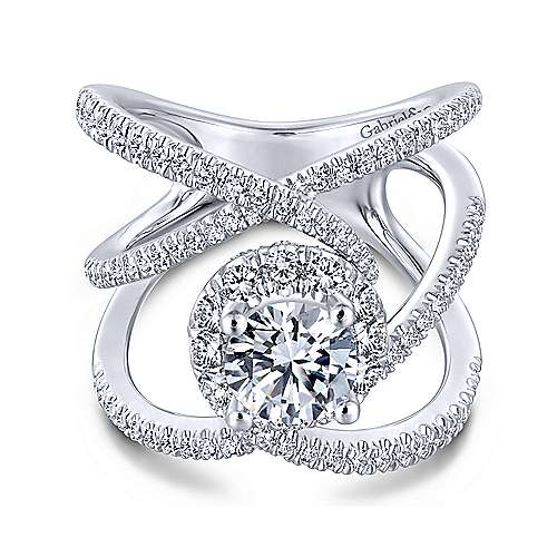 Leone 18k White Gold Round Halo Engagement Ring angle 1