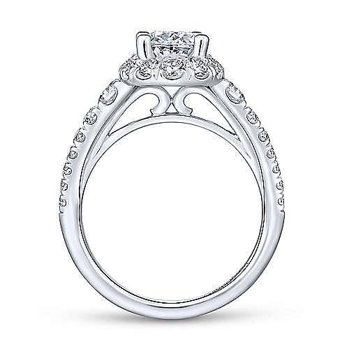 Leonia 14k White Gold Oval Halo Engagement Ring angle 2