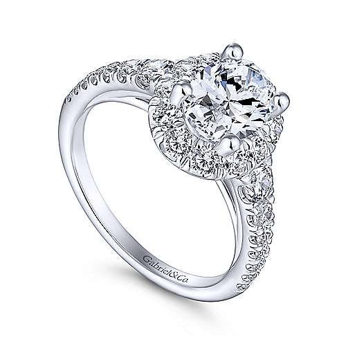 Leonia 14k White Gold Oval Halo Engagement Ring angle 3