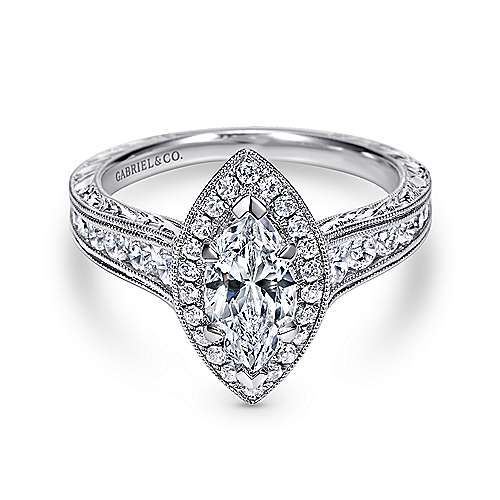 Gabriel - Leticia 14k White Gold Marquise  Halo Engagement Ring