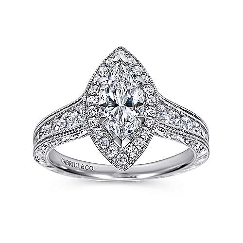Leticia 14k White Gold Marquise  Halo Engagement Ring angle 5