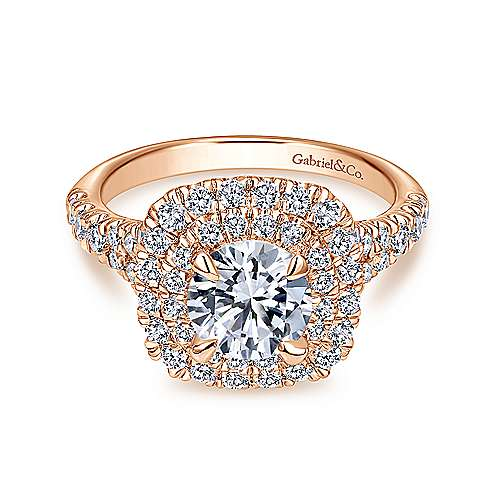 Lexie 14k Rose Gold Round Double Halo Engagement Ring angle 1
