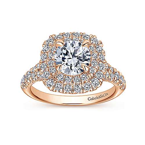 Lexie 14k Rose Gold Round Double Halo Engagement Ring angle 5
