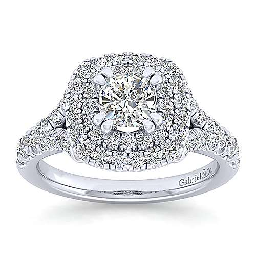 Lexie 14k White Gold Cushion Cut Double Halo Engagement Ring angle 5