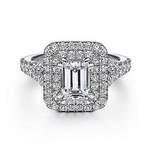 Gabriel - Lexie 14k White Gold Emerald Cut Double Halo Engagement Ring
