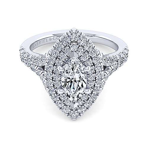 Gabriel - Lexie 14k White Gold Marquise  Double Halo Engagement Ring