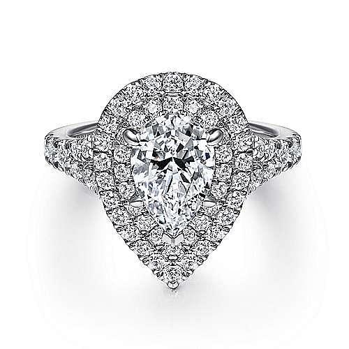 Gabriel - Lexie 14k White Gold Pear Shape Double Halo Engagement Ring