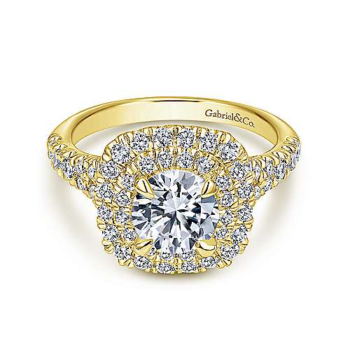 Gabriel - Lexie 14k Yellow Gold Round Double Halo Engagement Ring