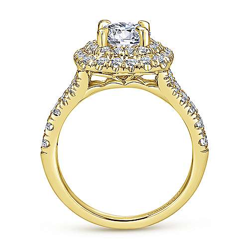 Lexie 14k Yellow Gold Round Double Halo Engagement Ring angle 2