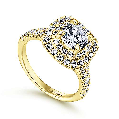 Lexie 14k Yellow Gold Round Double Halo Engagement Ring angle 3