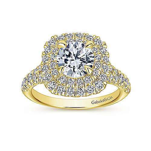 Lexie 14k Yellow Gold Round Double Halo Engagement Ring angle 5