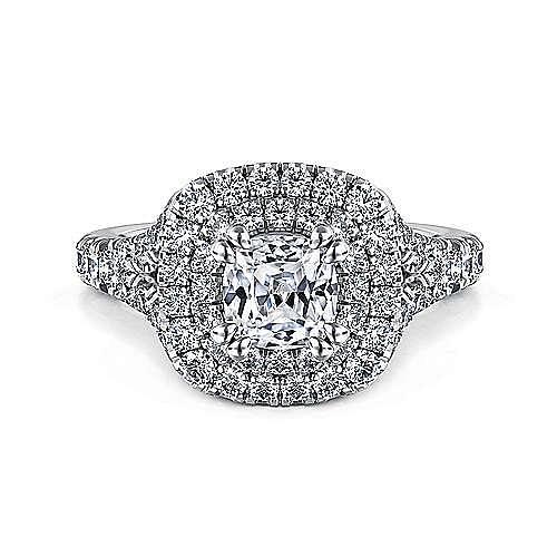 Lexie Platinum Cushion Cut Double Halo Engagement Ring angle 1