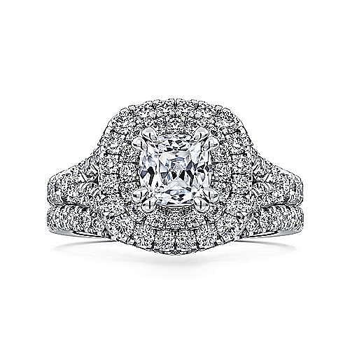 Lexie Platinum Cushion Cut Double Halo Engagement Ring angle 4