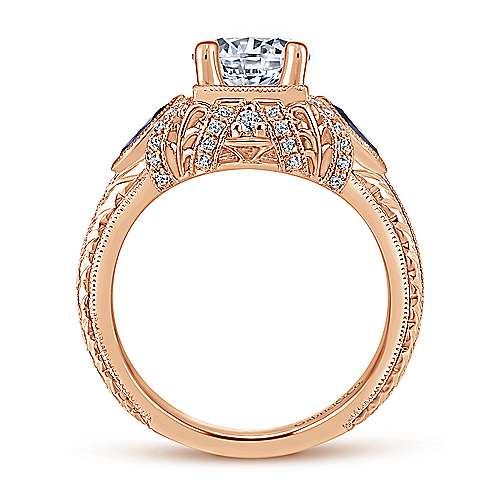 Lexington 14k Rose Gold 3 Stones Halo Engagement Ring angle 2