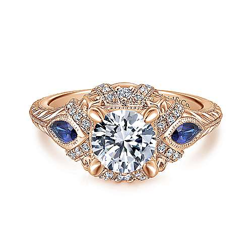 Gabriel - Lexington 14k Rose Gold Round 3 Stones Halo Engagement Ring