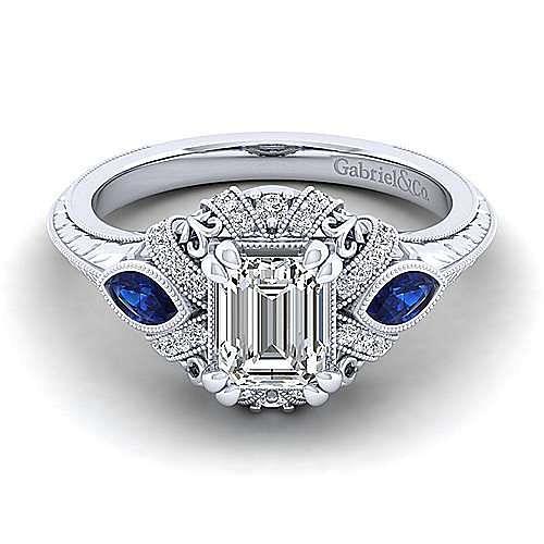 Gabriel - Lexington 14k White Gold Emerald Cut 3 Stones Halo Engagement Ring